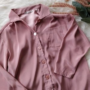 VICTORIA'S SECRET Satin Blush Pink Pajama Top S